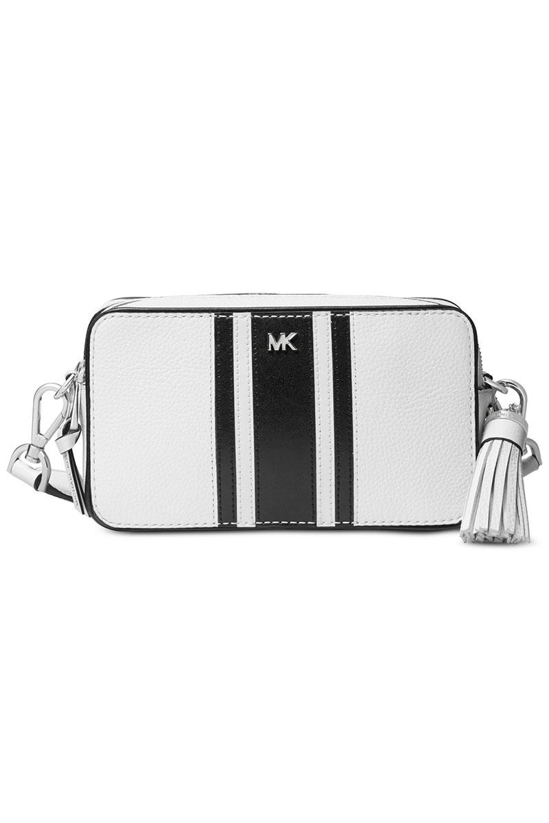 Michael Kors shoulder bag Michael Michael Kors 32H8SF5M0L Small Logo Tape Camera Bag (WhiteBlack) Small logo tape camera bag (white) Logo Camera Bag