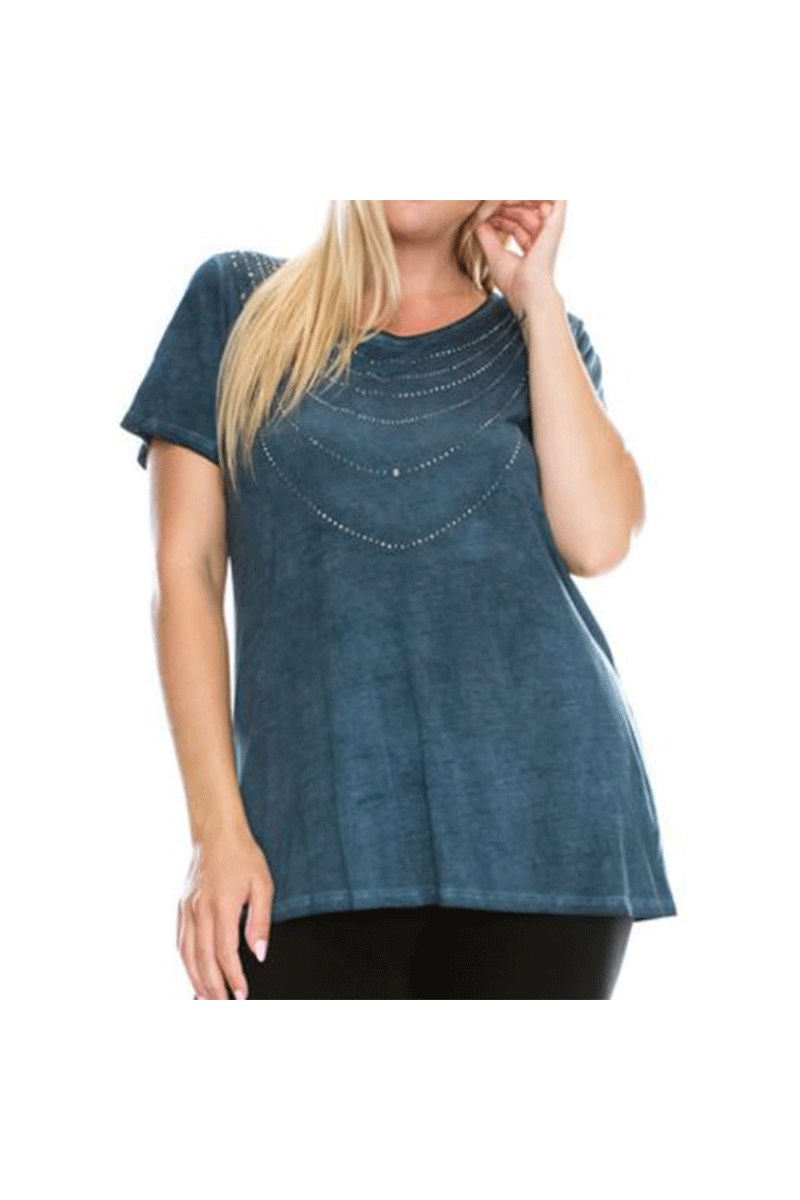 Oil Wash Short Sleeve Top With Stones