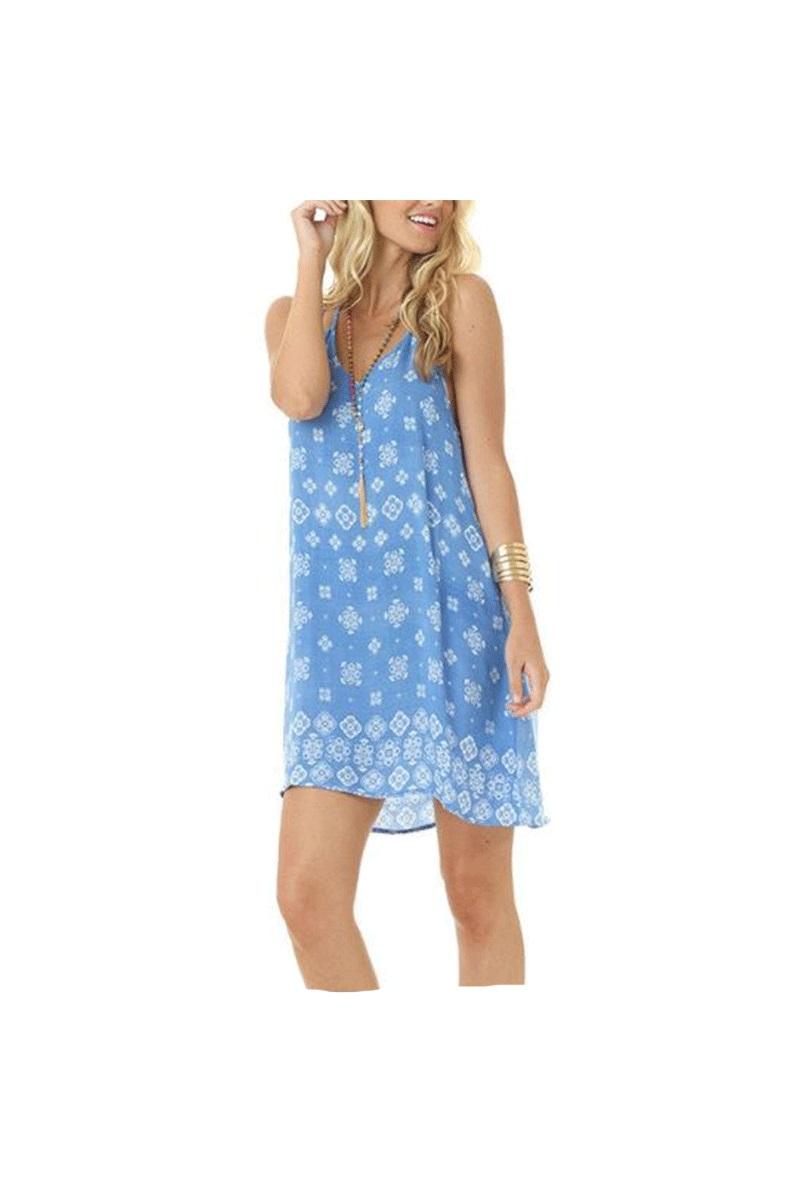 Print Halter Dress in Sky Blue