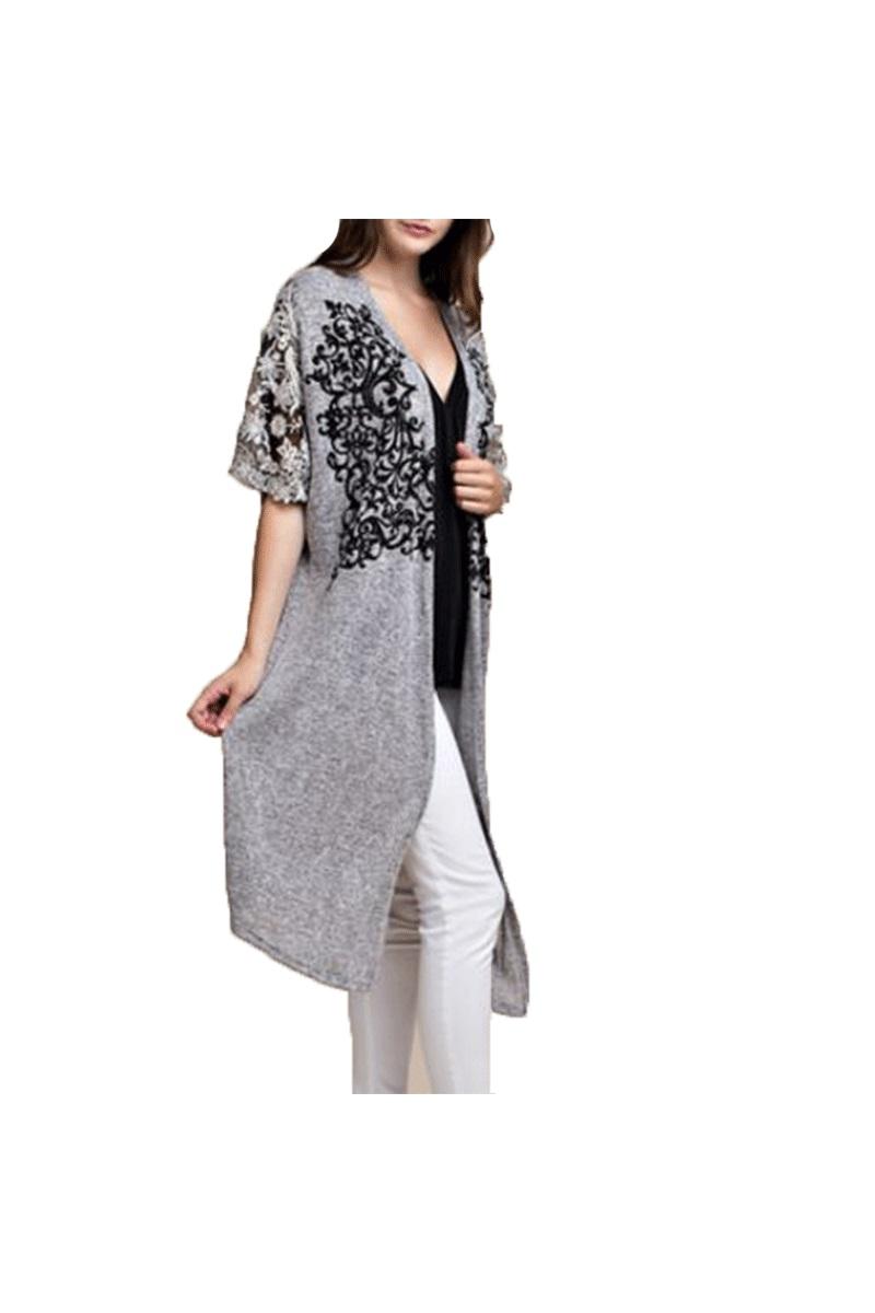 Kimono Sleeve Long Cardigan With Stones