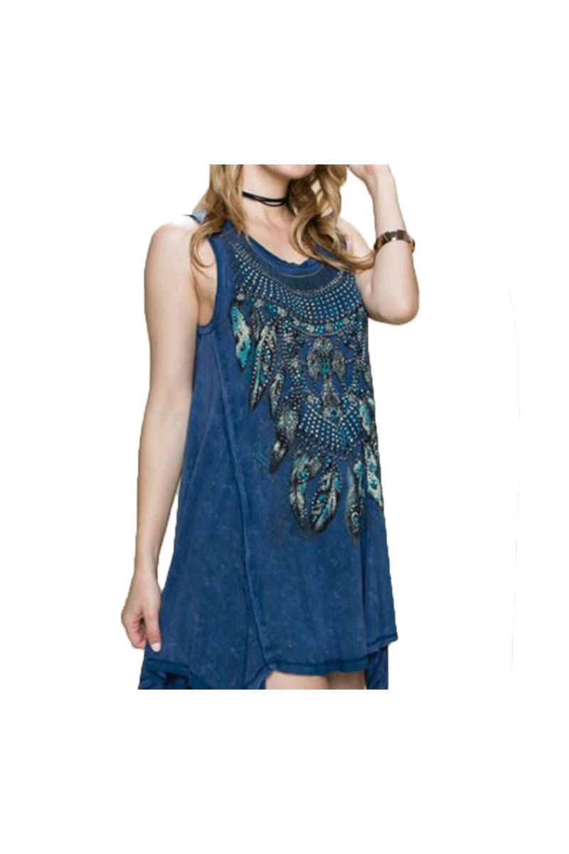 Mineral Wash Tank Top With Print & Stone
