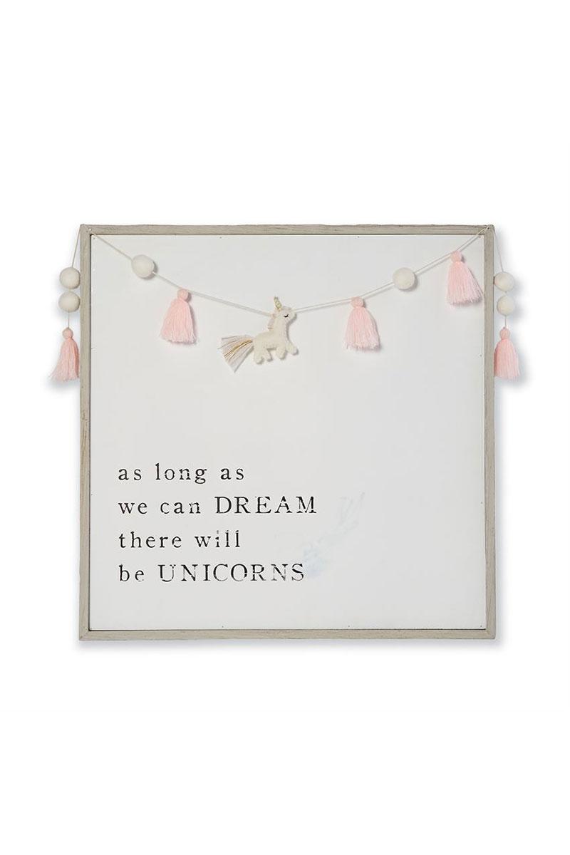 Dream Pink Pom-Pom Tassel Unicorn Garland Plaque