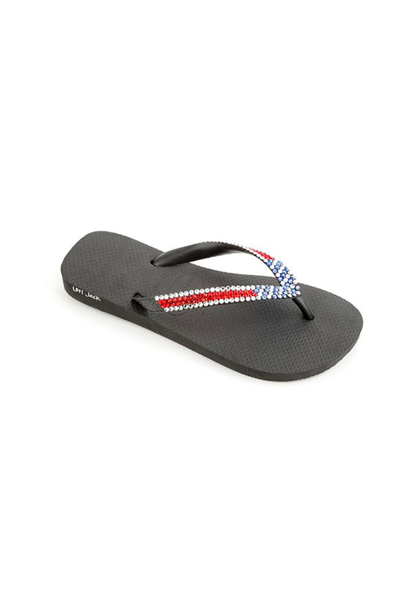 Black Flip Flop with An American Flag Design