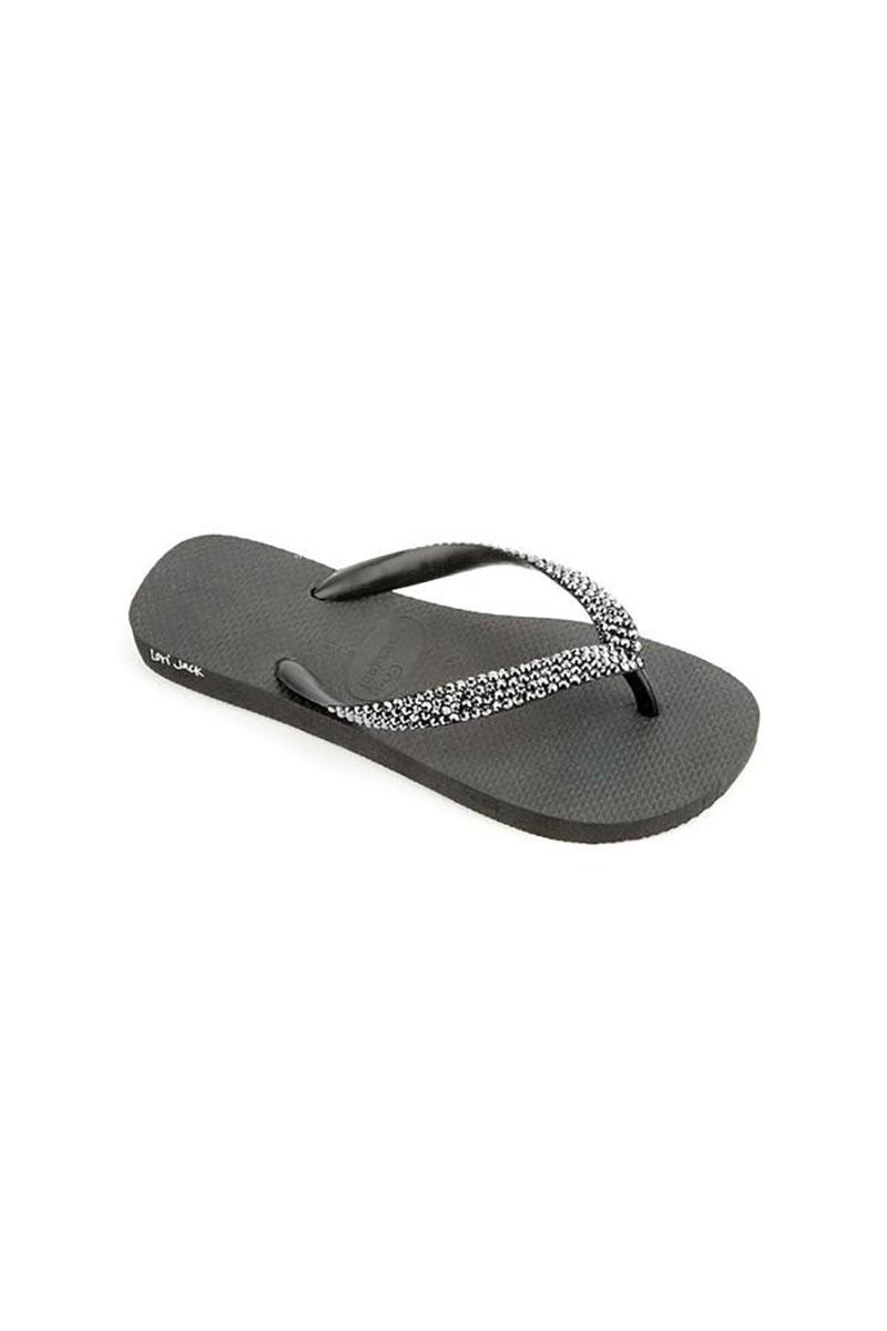 Black Flip Flop with Jet Hematite Crystals