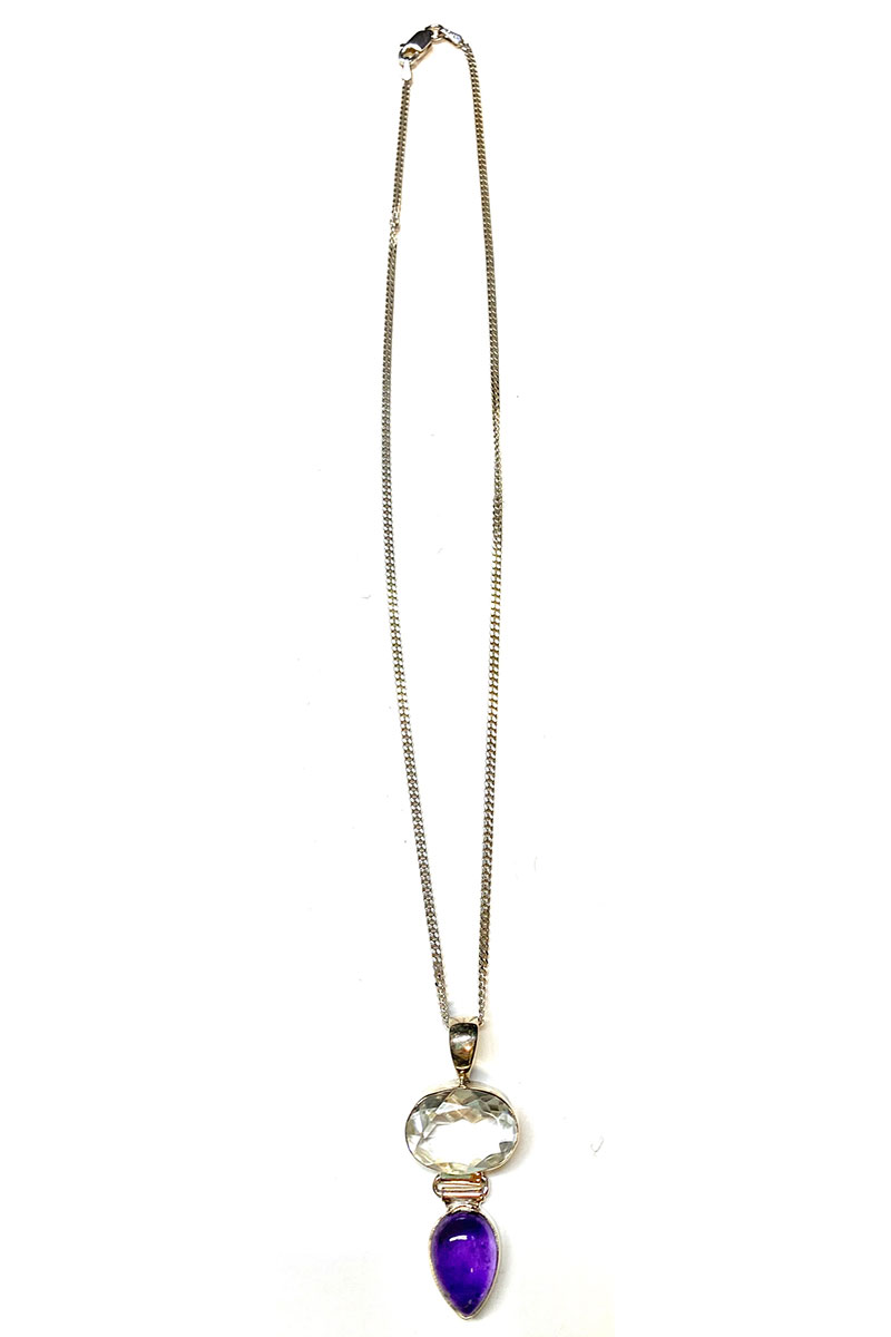 Gem Stone Necklace with Silver Accents