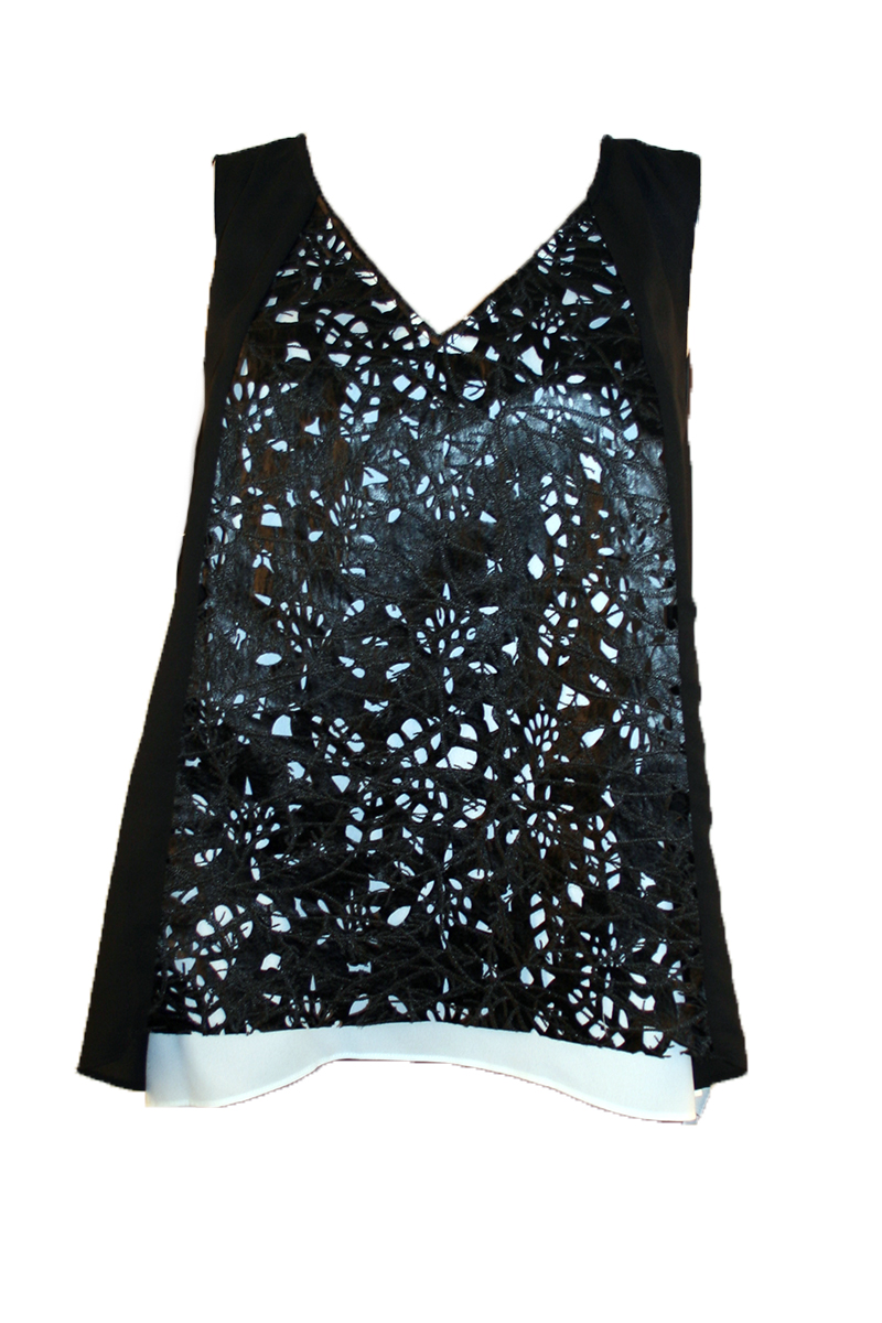 Embroidery Leather Panel Top