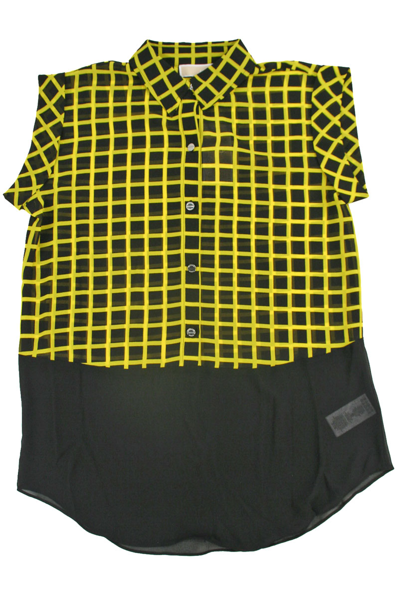 Short Sleeve Blouse With Plaid in Yellow and Black