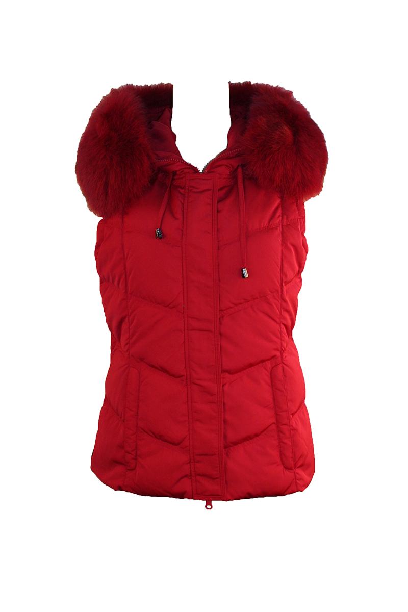 Down Vest W-Fur Trim Hood