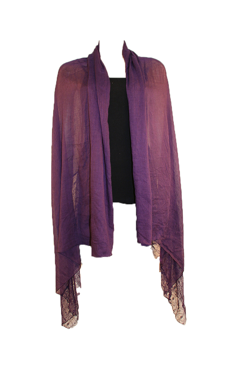 SHAWL WITH LACE IN PLUM