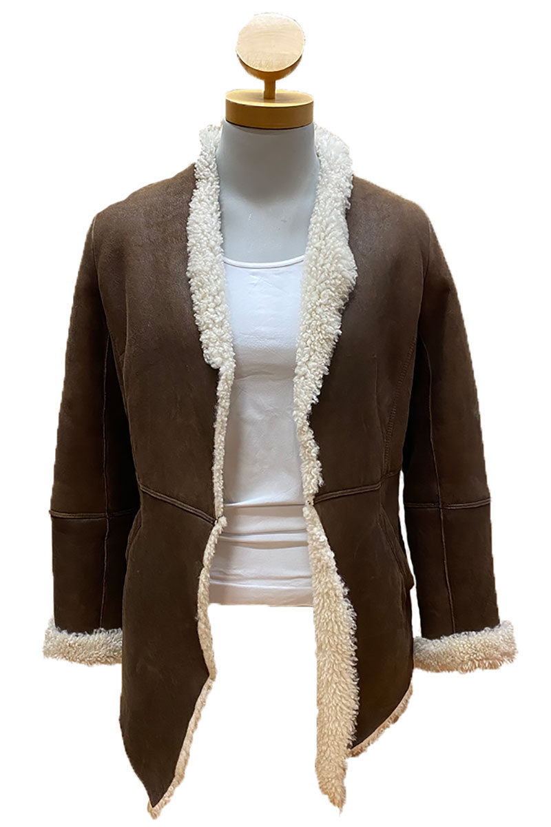 Open Front Shearling Jacket