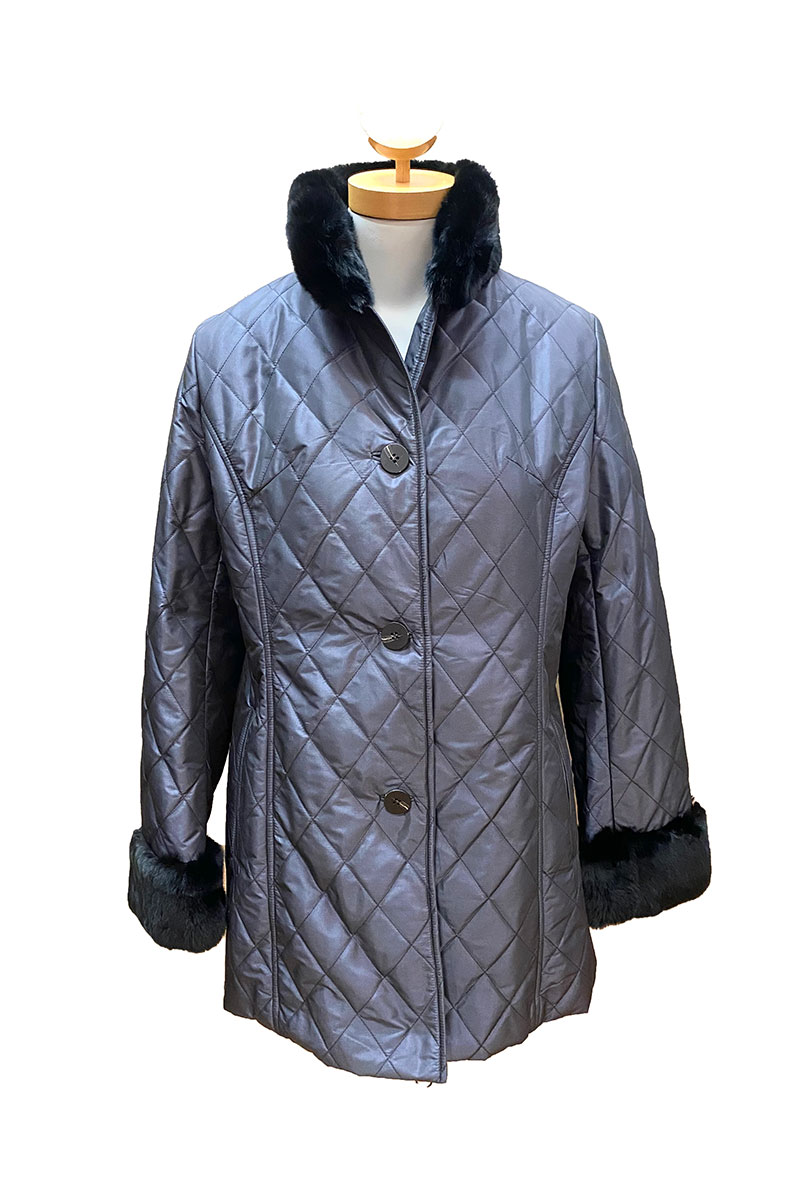 Quilted Taffeta Jacket with Fur Trim