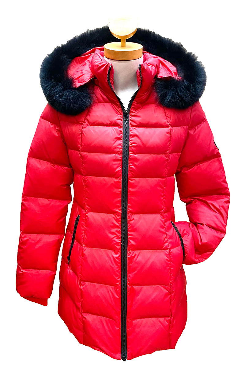 Down Jacket with Fox Trimmed Hood