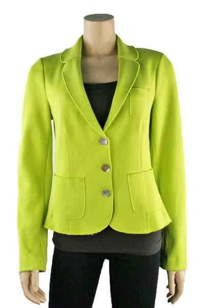 Three Button Cotton Blazer In Lime Green