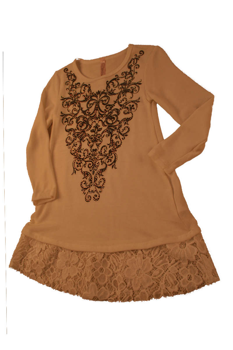 KIDS Tunic with Lace Print and Stones