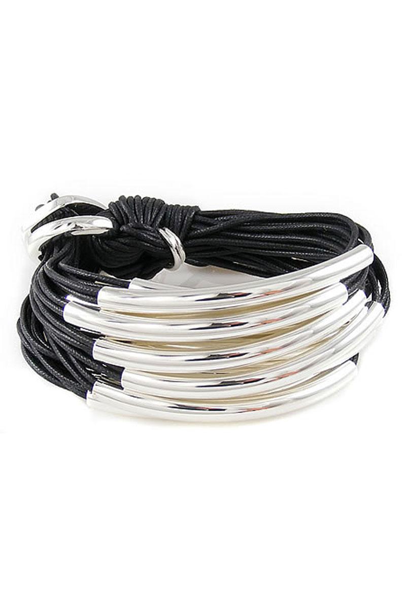 Sterling Silver Tube Bracelet in Black