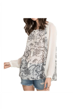Contrast Sleeve Ruffle Neck Blouse