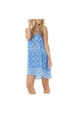 Print Halter Dress in Sky Blue