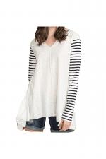 Stripe Sleeve Oversized Top