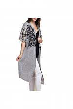Kimono Sleeve Long Cardigan With Stones