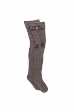 Sparkle Cable Knit Sock in Charcoal Heather With Silver