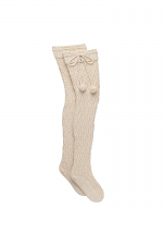 Sparkle Cable Knit Sock in Cream With Gold
