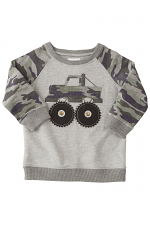 Camo Truck Applique Sweatshirt in Grey