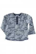Dinosaur Print Henley Top in Grey