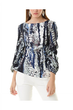 Print Top With Rouched Sleeves