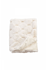 Ivory Honeycomb Faux Fur Blanket