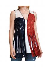 Three Contrast Fringe Vest