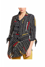 Abstract Print Button Down Top