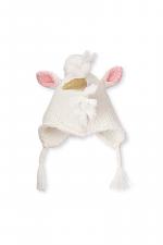 Ivory Unicorn Woven Knit Hat