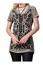Dirty Wash Short Sleeve Top With Print & Stones