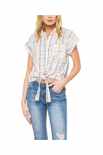Extended Sleeves Tie Front Plaid Top