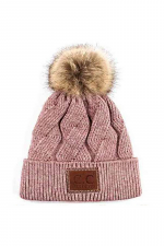 Geometric Cable Beanie with Faux Fur Pom