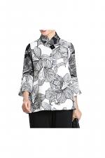 White Floral Print High Neck Jacket