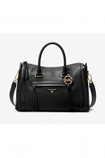 Carine Medium Pebbled Leather Satchel