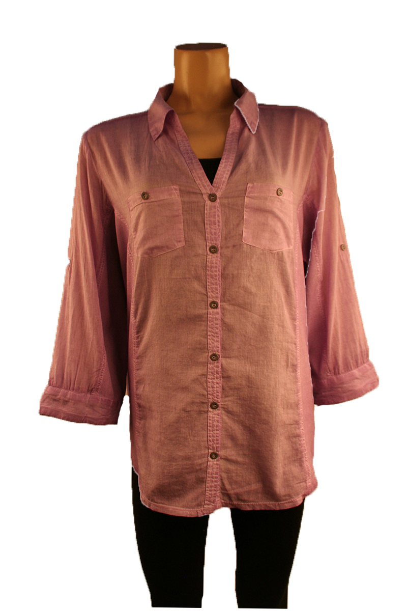 Rolled Sleeve Button Up in Purple