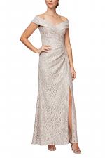 Long Off The Shoulder Fit & Flare Dress With Surplice Neckline & Front Slit