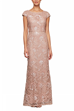 Long Embroidered Dress with Cap Sleeves & Sequin Detail