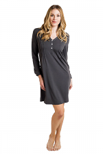Lauren Long Sleeve Nightgown in Charcoal