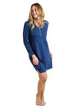 Lauren Long Sleeve Nightgown in Denim Blue