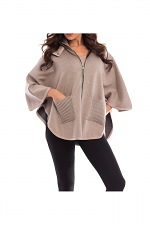 Ribbed Plaid Detachable Hooded Poncho With Pockets in Stone