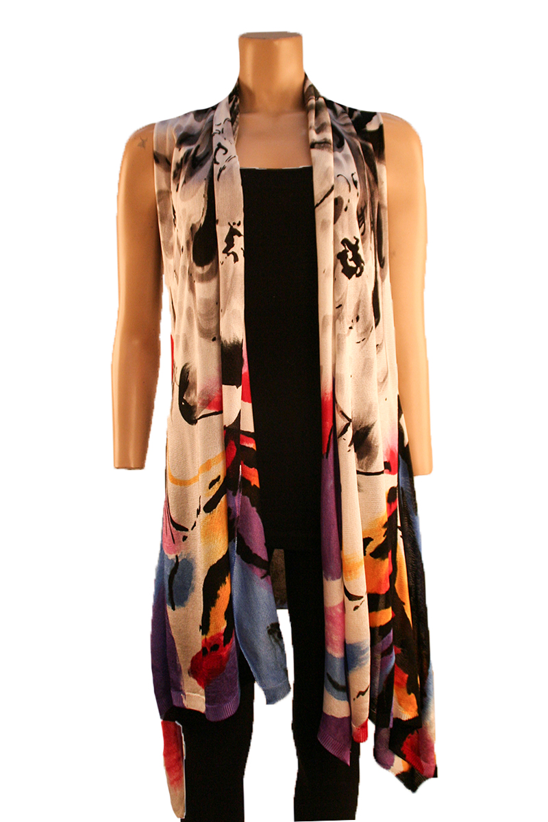 Open Front Print Vest Grey Multi