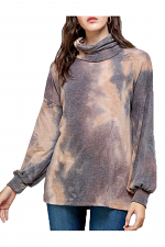 Bubble Sleeve Tie Dye Face Covering Top