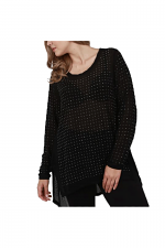 Long Sleeve top With Stones in Black