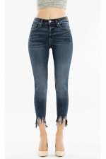 High Rise Ankle Skinny Jeans with Hem Detail