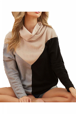 Sweater Knit Turtleneck Top with Block Print
