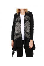 Cardigan With Fringe in Black