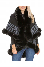 Greek Meander Patterned Double Layered Faux Fur Trim Poncho